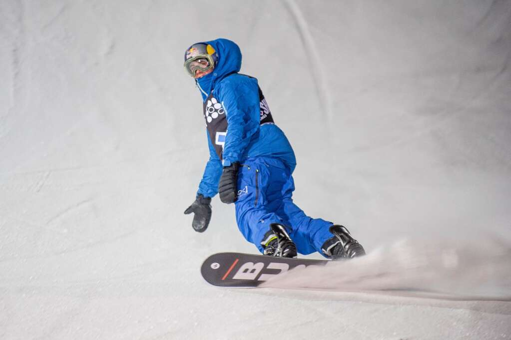 Canada's Mark McMorris comes into the finish area during Friday's men's snowboard big air contest at X Games Aspen.