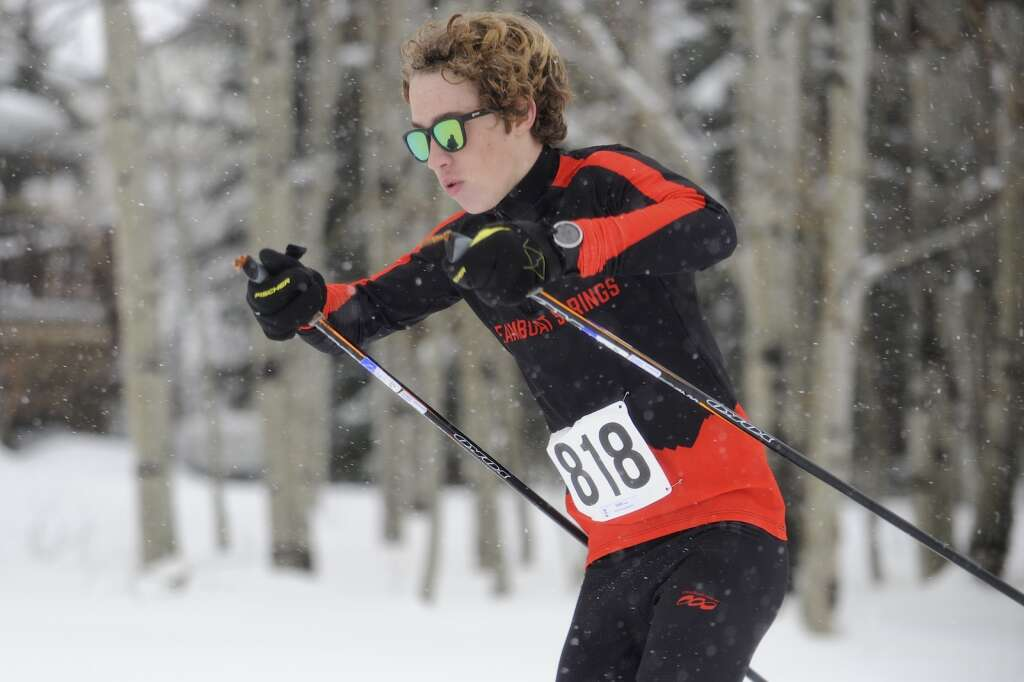 Steamboat Springs Nordic skier Xander Dalke battles the snow at a home race at the Steamboat Ski Touring Center on Friday afternoon. (Photo by Shelby Reardon)