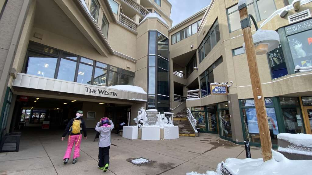 Slopeside view of the Westin hotel in Snowmass on March 30, 2021 from the Snowmass Mall entrance. | David Krause / Snowmass Sun