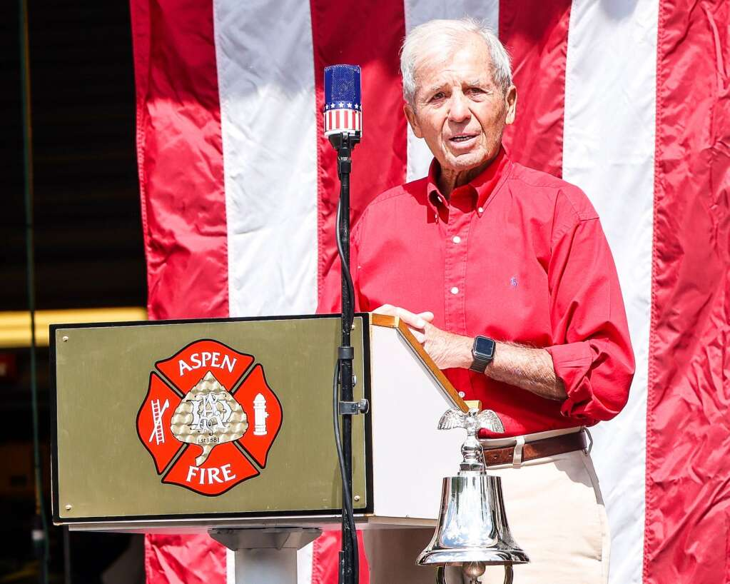 Longtime Aspen local Dick Butera speaks during the remembrance of the Sept. 11, 2001, terrorist attacks in New York City on Saturday, Sept. 11, 2021, in front of the Aspen Fire Protection District building in downtown Aspen. Photo by Austin Colbert/The Aspen Times.