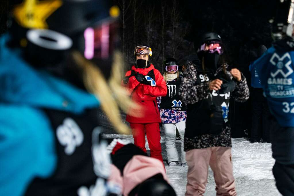 Athletes competing in the women's snowboard superpipe final line up at the top of the 2021 X Games course at Buttermilk before the start on Saturday, Jan. 30, 2021. (Kelsey Brunner/The Aspen Times)