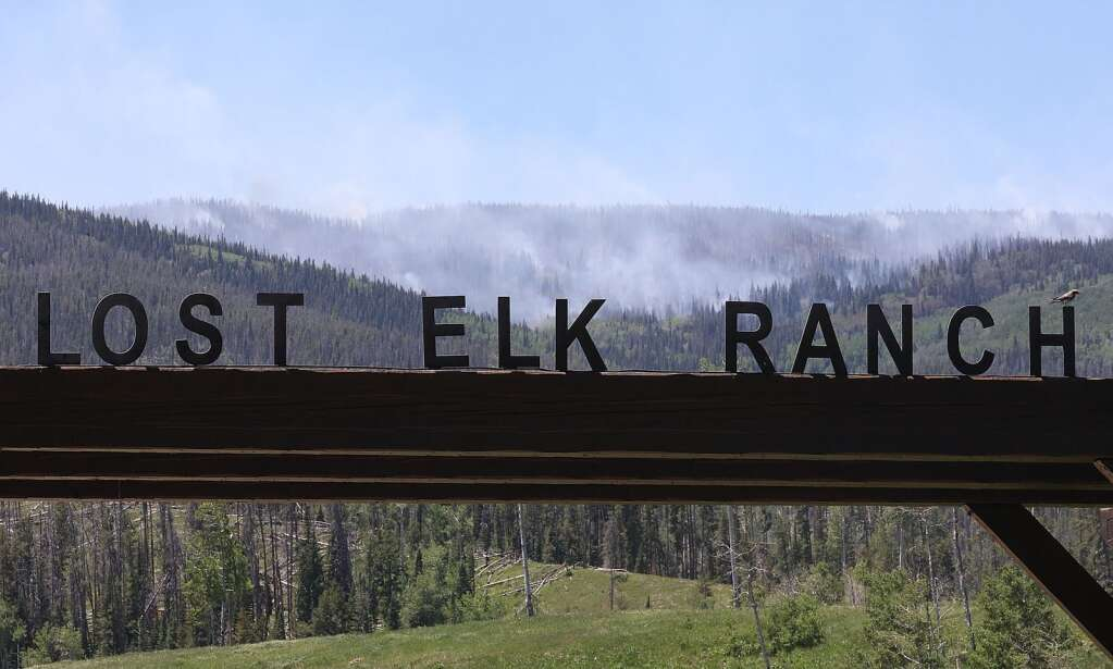 The Muddy Slide Fire burns near the Lost Elk Ranch and many other properties on Routt County Road 16 east of Yampa on June 21. (Photo of John F. Russell)