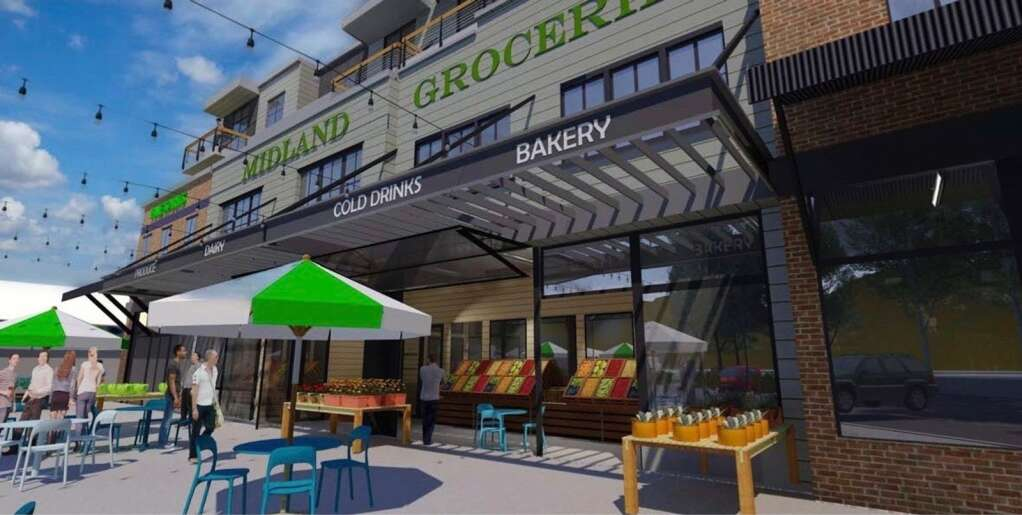 This rendering shows the gathering area outside the proposed grocery store at the Basalt Center Circle project in downtown Basalt. | BCC Basalt LLC/courtesy image