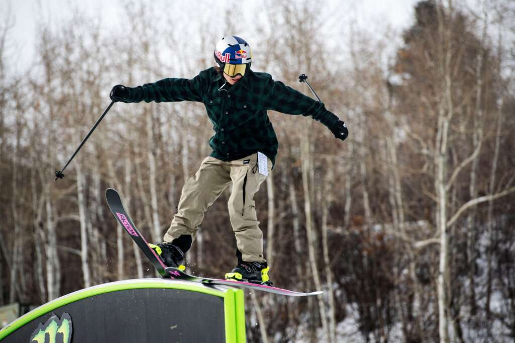 Freestyle skier Mathilde Gremaud hits a rail feature on the slopestyle course during a practice session at the 2021 X Games Aspen at Buttermilk on Thursday, Jan. 28, 2021. (Kelsey Brunner/The Aspen Times)