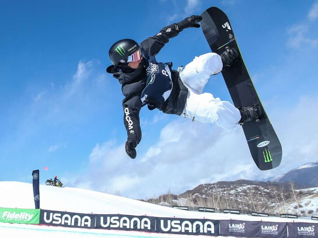 Lucas Foster competes in the men's snowboard halfpipe final of the U.S. Grand Prix and World Cup on Sunday, March 21, 2021, at Buttermilk Ski Area in Aspen, Colo. Photo by Austin Colbert/The Aspen Times.