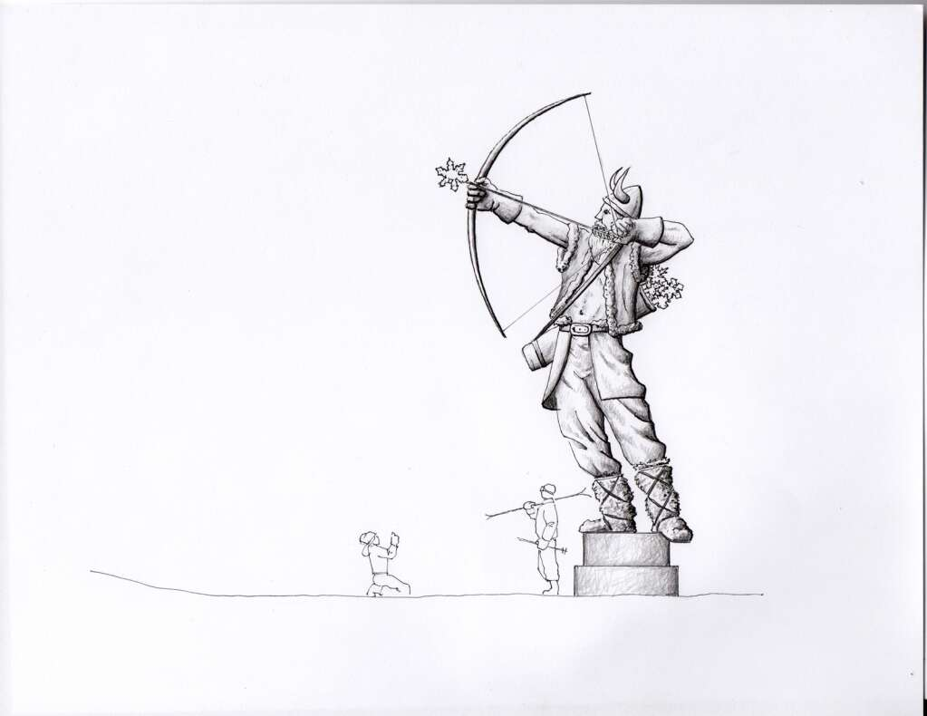A concept drawing by artist Andy Scott for his sculpture of Ullr at the base of Peak 8 in Breckenridge. | Image from Breckenridge Grand Vacations