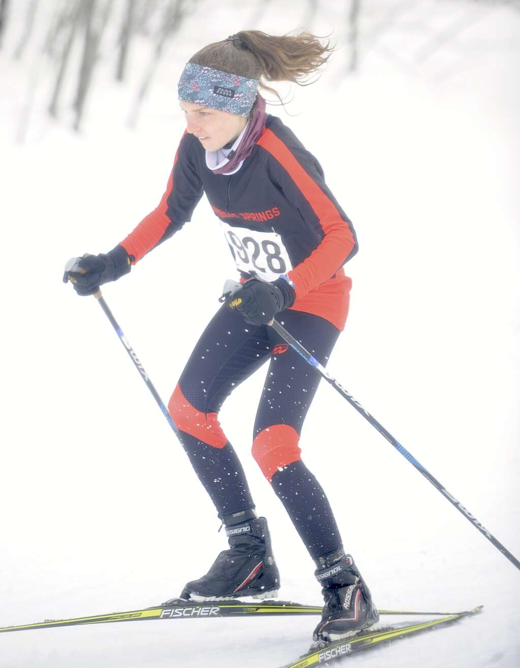 Steamboat Springs Nordic skier Meagan Maitre gets off to a hot start at a home race at the Steamboat Ski Touring Center on Friday afternoon. (Photo by Shelby Reardon)