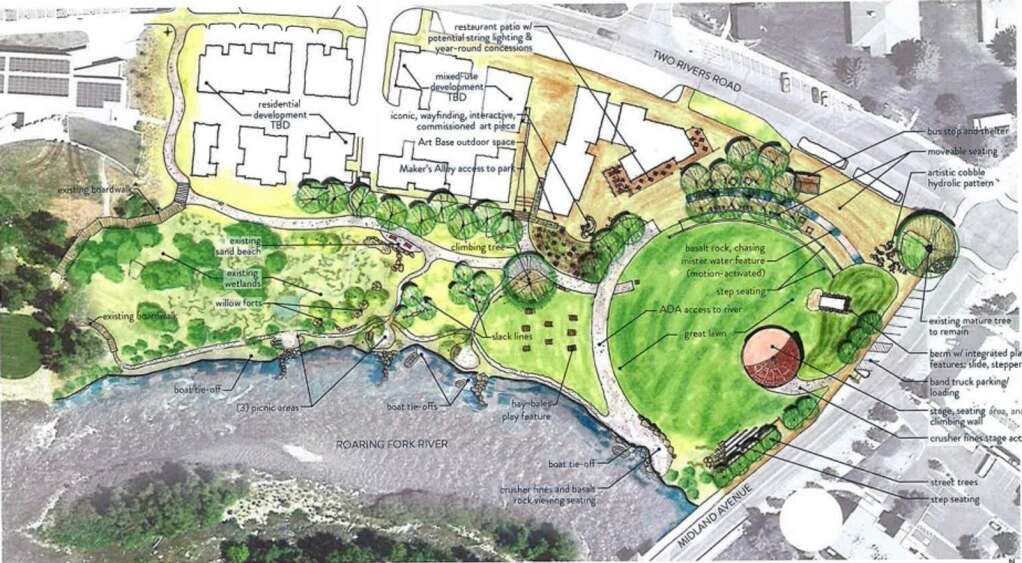 This drawing shows the layout for the park and development at the former Pan and Fork site in Basalt. The park will feature a band shell and 'great lawn' in the upper right. | Courtesy image