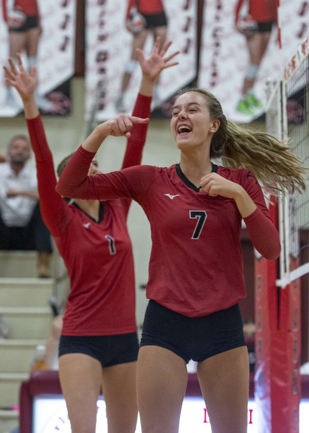 Park City High School senior Grace Crosby (7) cheers after scoring a point for the Miners during their matchup against East High School Tuesday evening, Sept. 14, 2021. The Miners swept the Leopards 3-0. (Tanzi Propst/Park Record)