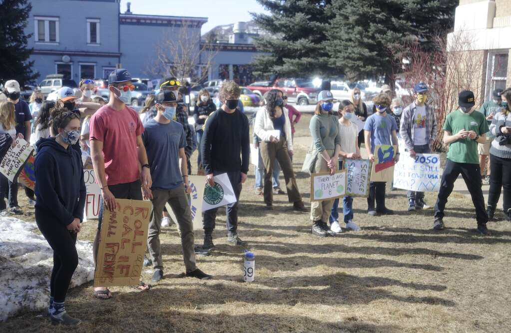 The crowd gathers to listens to speakers at a Climate Action Rally at the Routt County Courthouse Lawn on Friday afternoon. (Photo By Shelby Reardon)