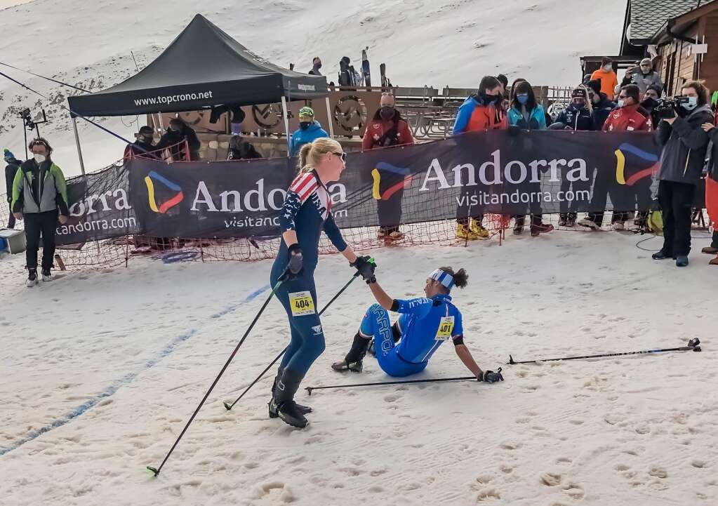 Summit County resident Grace Staberg and her friend gold medalist Samantha Bertolina of Italy, right, embrace at the end of the International Ski Mountaineering Federation vertical U-20 women's world championship race in Andorra on Thursday, March 4. | Photo by SkiMoStats.com