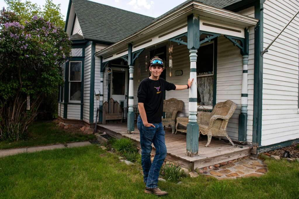 Basalt High School graduating senior Tyler Sims stands outside of his family's original homestead in Basalt on Wednesday, May 19, 2021. Tyler is the 6th generation of his family with ties to Basalt. (Kelsey Brunner/The Aspen Times)