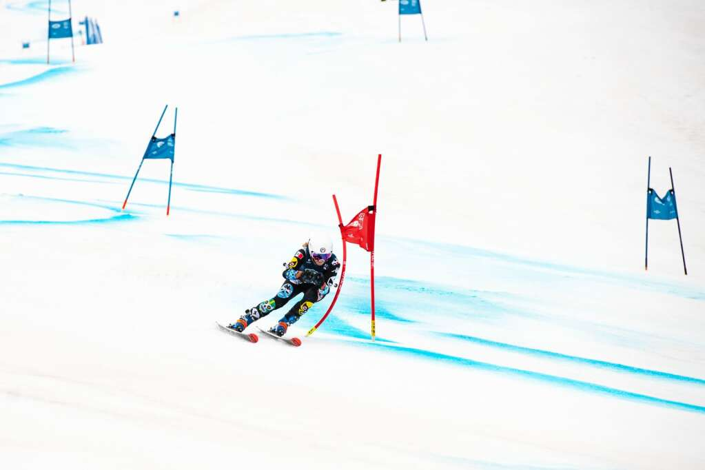 Mexican alpine skier Sarah Schleper makes turns during the second run of the Women's Giant Slalom National Championship at Aspen Highlands on Thursday, April 15, 2021. Schleper finished ninth overall. (Kelsey Brunner/The Aspen Times)