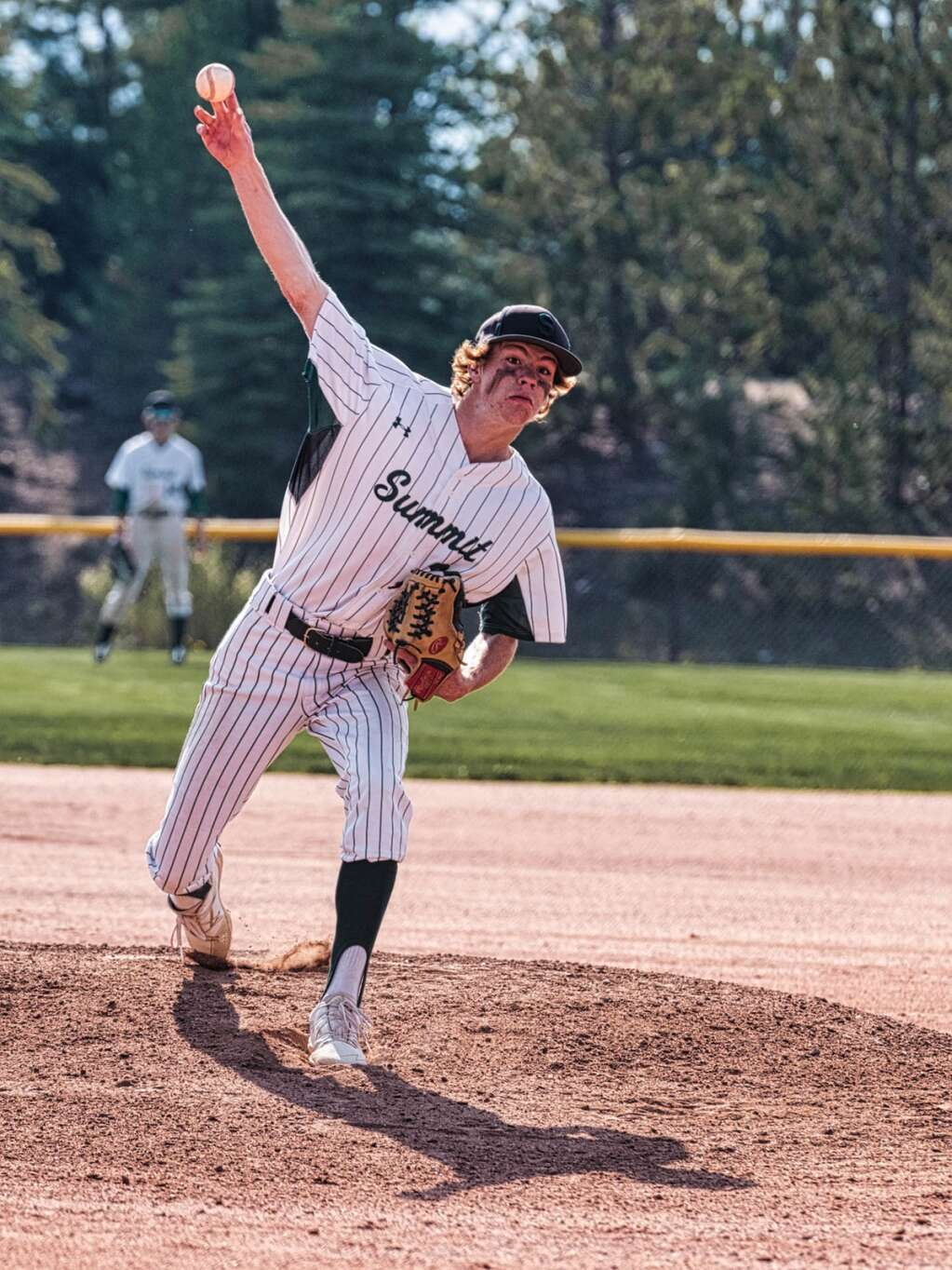 Summit pitcher Charlie Pedigo hurls one toward home plate during Summit's pair of wins over Steamboat Springs at the Frisco Peninsula Recreation Area in Frisco on Tuesday. | Photo by Joel Wexler / Rocky Mountain.Photography
