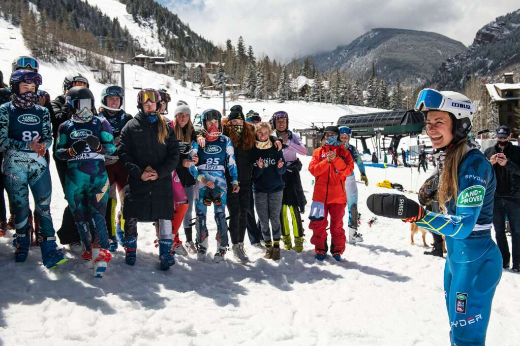 American alpine skier Resi Stiegler gives a speech to her fellow skiers after she won the Women's Slalom National Championships at Aspen Highlands on Friday, April 16, 2021. (Kelsey Brunner/The Aspen Times)