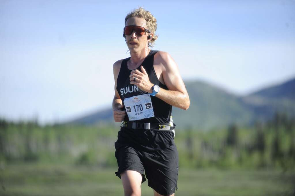 Jeff Hegreness grooves through mile two during the Steamboat Marathon on Sunday morning. (Shelby Reardon)