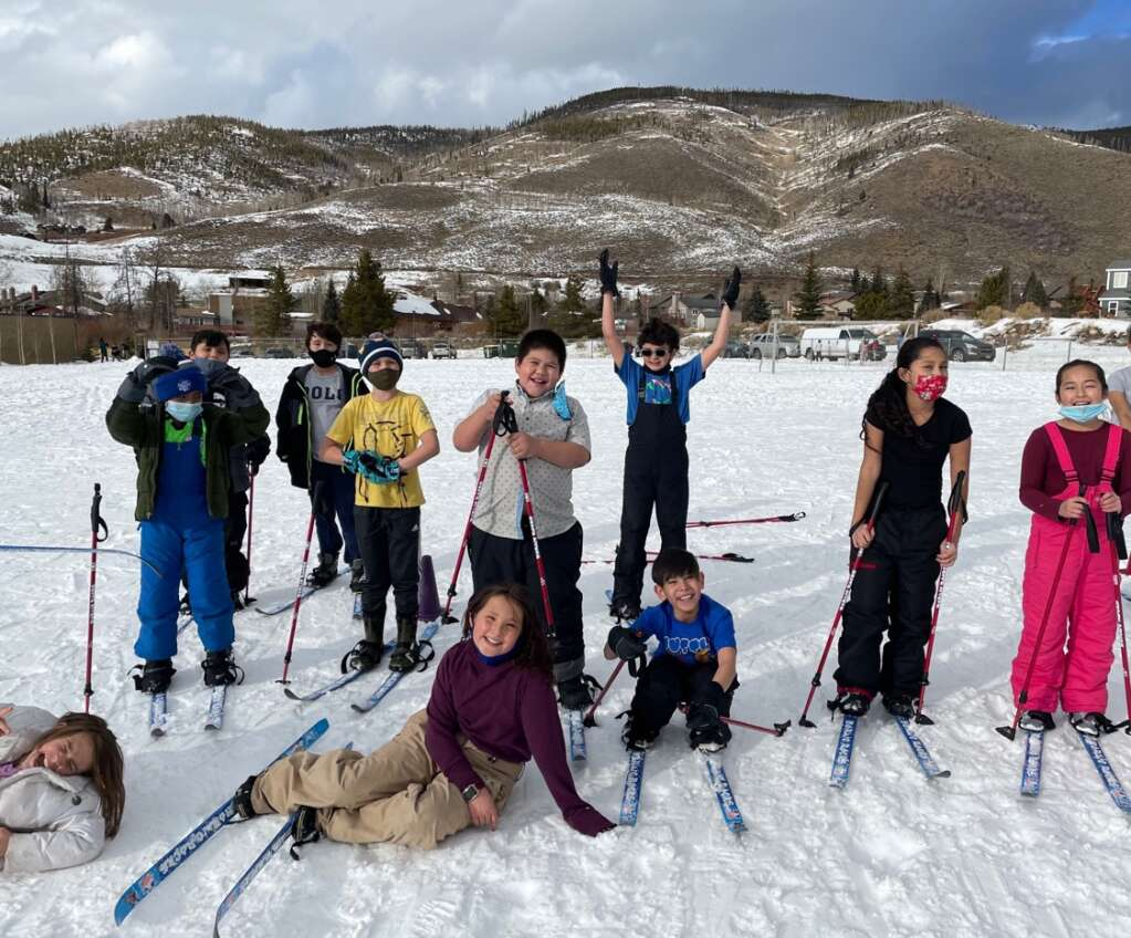 Dillon Valley Elementary School students take part in Nordic skiing at the school this winter thanks to a program brought to the school by physical education teacher Caitlin Steele.   Photo from Caitlin Steele