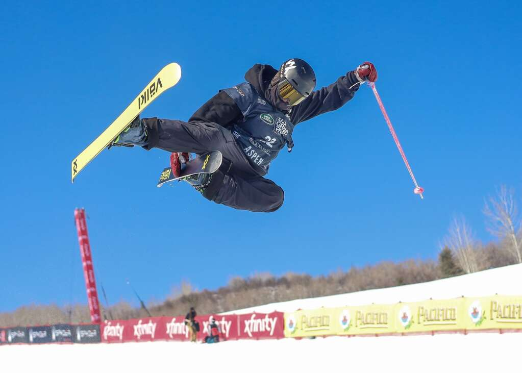 Australia's Abi Harrigan competes in the women's freeski halfpipe qualifier of the Land Rover U.S. Grand Prix and World Cup on Friday, March 19, 2021, at Buttermilk Ski Area in Aspen. Photo by Austin Colbert/The Aspen Times.