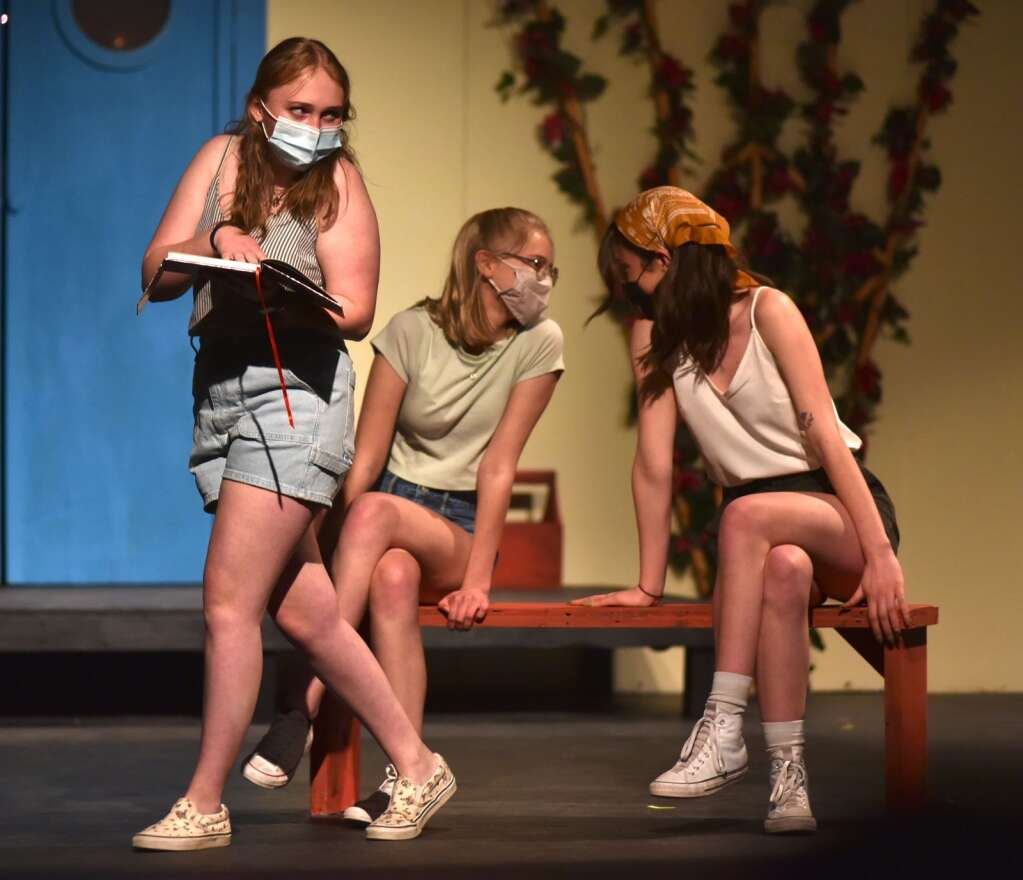 """Olivia Kendziorski, left, plays Sophie with Collette Mace as Ali and Sierra Merrell as Lisa in Middle Park's production of """"Mamma Mia!"""""""