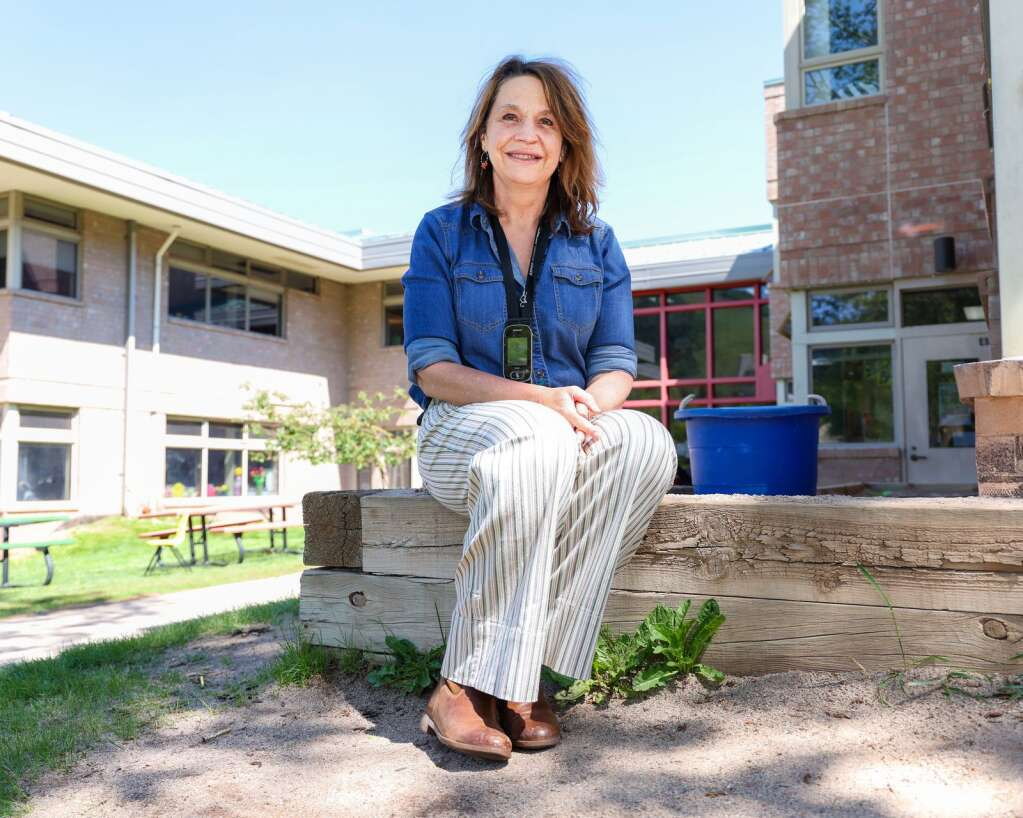 Julie Markalunas Hall, a speech language pathologist through the Aspen School District, poses for a photo on Tuesday, June 8, 2021, the final day for the AES this school year. It was also the final day, with students, for Markalunas Hall, who is retiring. Photo by Austin Colbert/The Aspen Times.