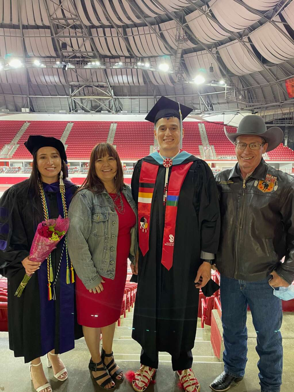Graduation day for Josey and her fiancé Jacey Mesteth, with Josey's mom Leslie and step-dad Mark Cuny. Photo courtesy Josey Johnson