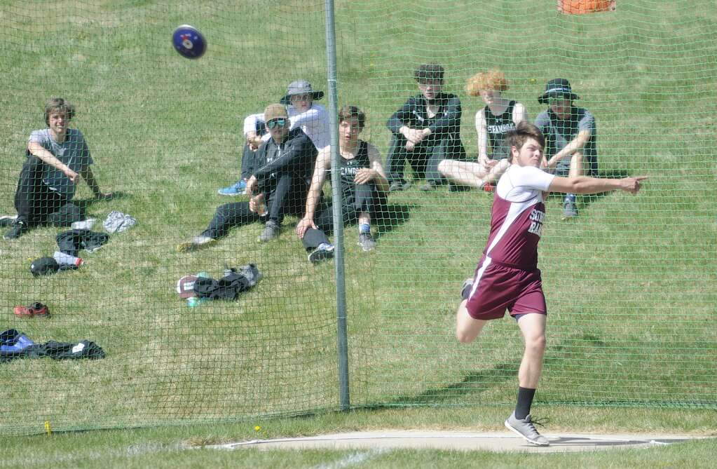Soroco senior Chase Delamater competes in discus at the Clint Wells Invitational in Craig on Friday. (Photo by Shelby Reardon)