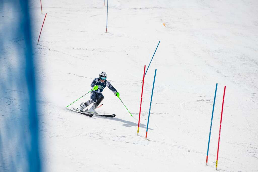 United States Alpine Skier Erik Arvidsson competes in the second run of the U.S. Alpine Men's Slalom Championships at Aspen Highlands on Monday, April 5, 2021. Arvidsson finished in second place. (Kelsey Brunner/The Aspen Times)