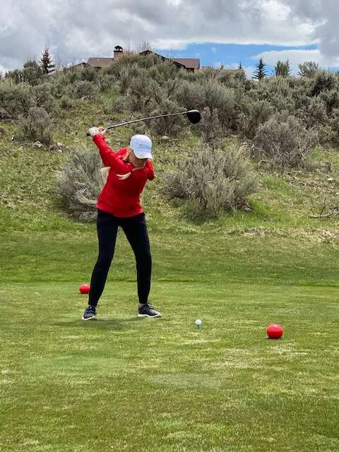 Steamboat Springs freshman golfer Alex Hanna aims for the ball on a tee box at the Vail Mountain Invite in Eagle on Monday. (Photo by Shannon Hanley)