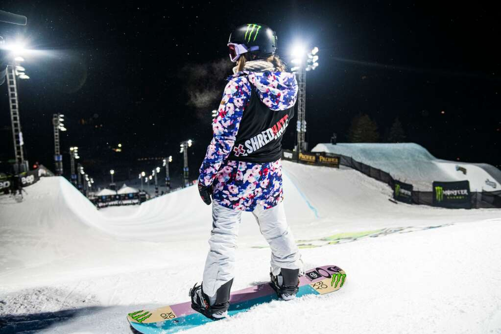 Chloe Kim waits at the top of the superpipe before her first run of the X Games women's snowboard finals at Buttermilk on Saturday, Jan. 30, 2021. (Kelsey Brunner/The Aspen Times)