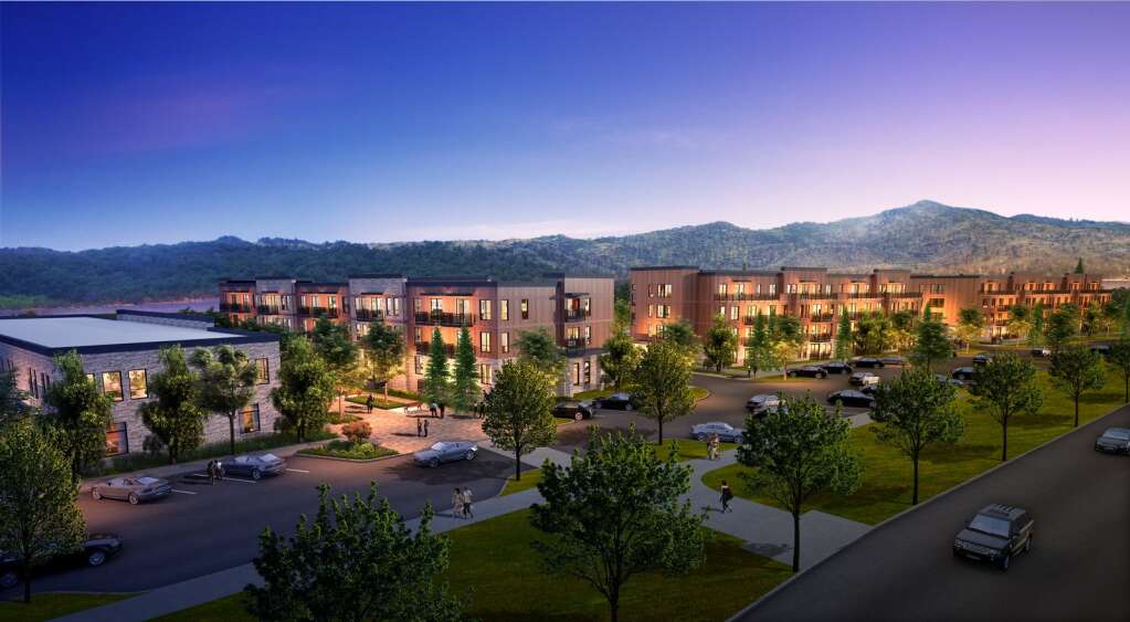 The view of the Tree Farm Lofts looking east. There will be a total of 196 apartments, including 40 with rent caps.   Courtesy image
