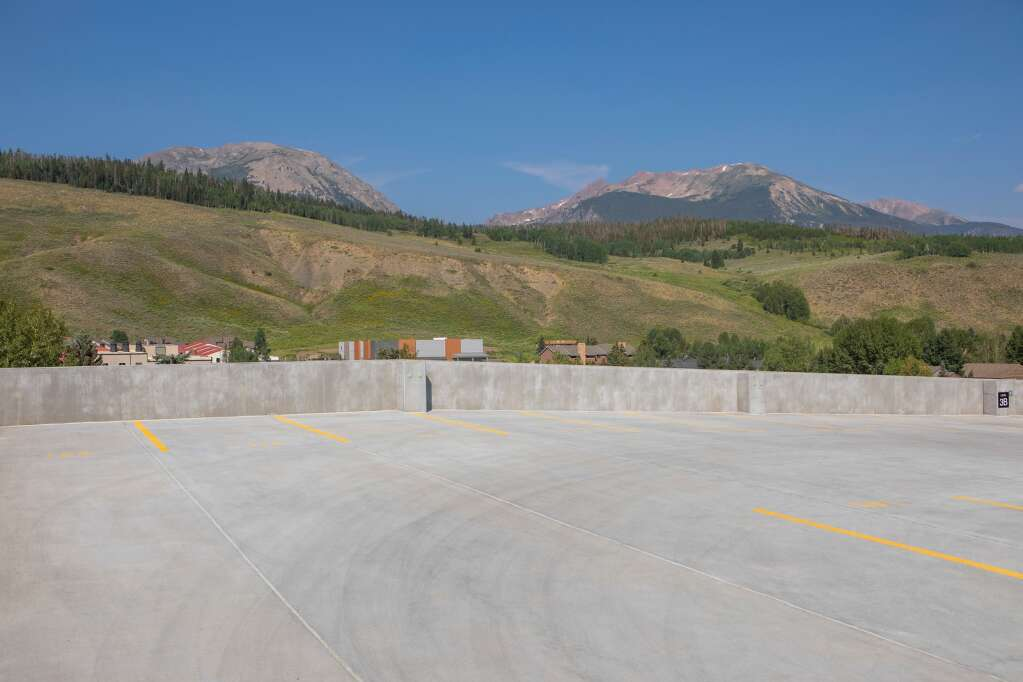The top level of the new parking garage in Silverthorne is pictured Tuesday, July 20. | Photo by Tripp Fay / Tripp Fay Photography