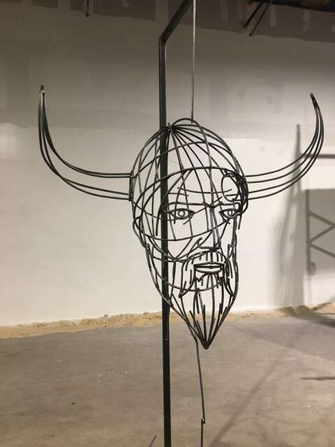 The steel frame for Ullr's head hangs in Andy Scott's studio prior to being clad with several dozen small pieces of steel. | Photo from Breckenridge Grand Vacations