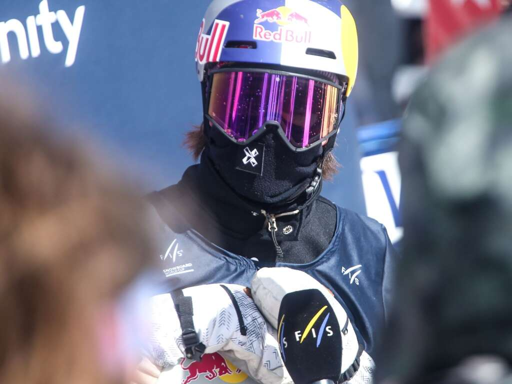 Norway's Marcus Kleveland is interviewed after the men's snowboard slopestyle finals at the U.S. Grand Prix and World Cup on Saturday, March 20, 2021, at Buttermilk Ski Area in Aspen. Photo by Austin Colbert/The Aspen Times.
