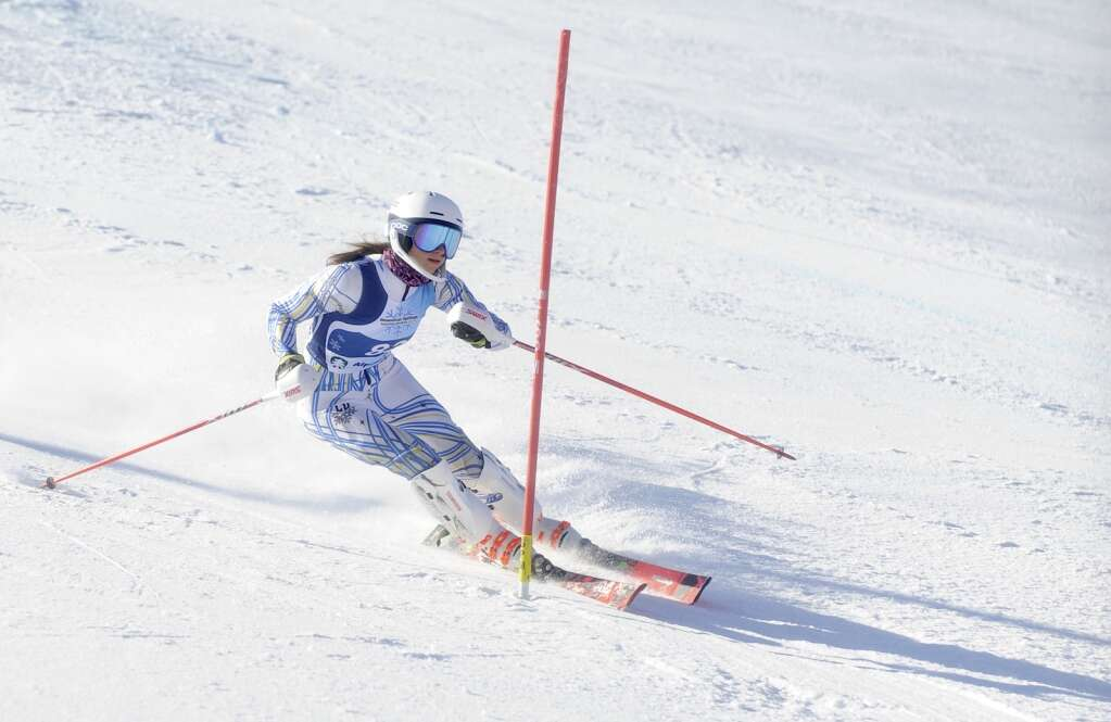 Steamboat Springs Winter Sports Club skier Katya Thurston eyes the next gate while racing slalom during the Colorado Ski Cup at Steamboat Resort on Wednesday, March 30. (Photo by Shelby Reardon)