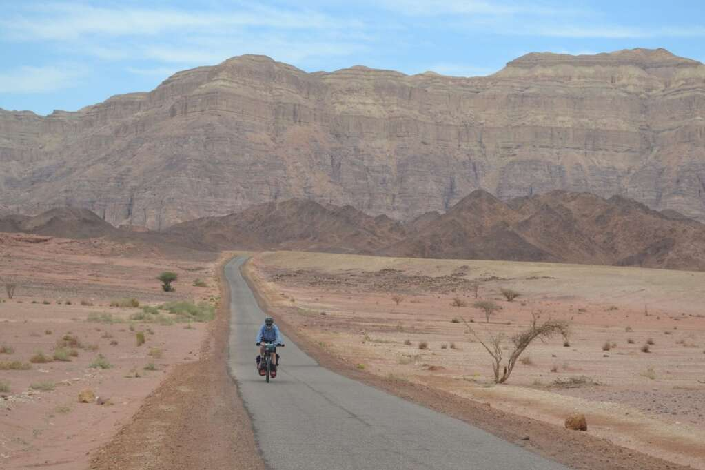 Climbing out of Mitzpe Ramon, a vast crater in southern Israel.