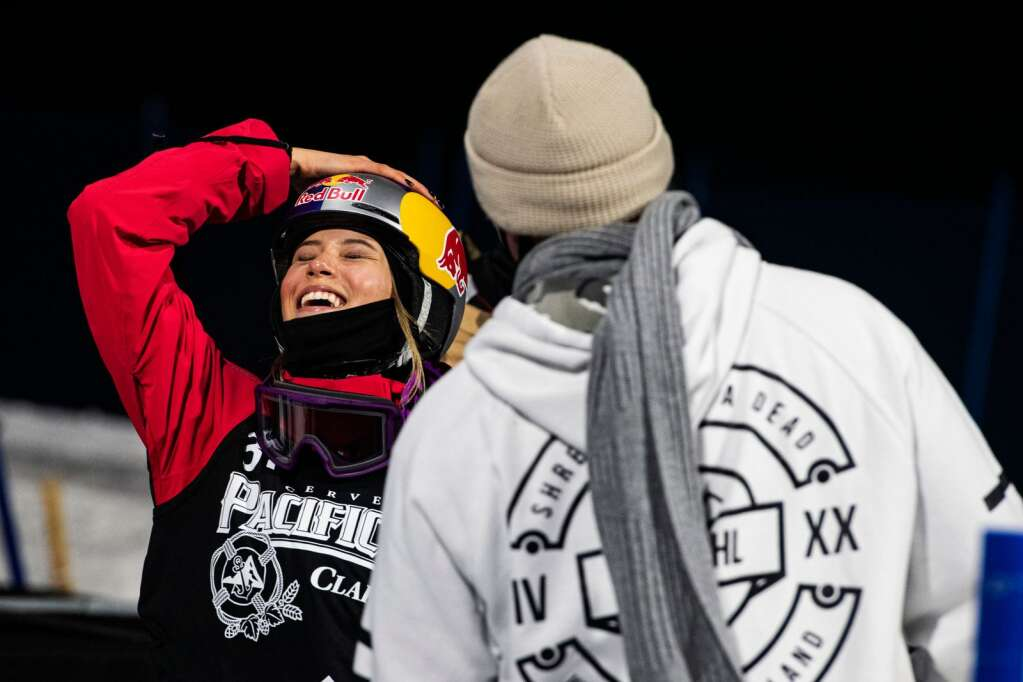 X Games rookie Eileen Gu celebrates after her last run during the women's finals at the 2021 X Games Aspen on Friday, Jan. 29, 2021. Gu took home the gold in her first superpipe final. (Kelsey Brunner/The Aspen Times)