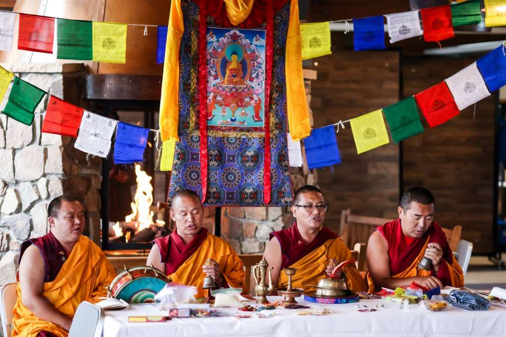 The Gaden Shartse monks of Tibet perform a mountain blessing inside the Sundeck on Wednesday, July 14, 2021, atop Aspen Mountain. The monks have long been a summer mainstay in Aspen, and Wednesday's event — moved indoors because of the rain — was meant to cap off this year's stay. For more on the monks, visit www.aspentibet.com. Photo by Austin Colbert/The Aspen Times.