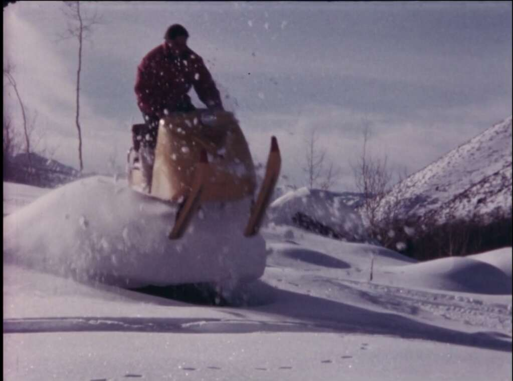 """Riding a """"skidoo"""" in 1964's """"Big Week at Aspen,"""" screening at Tuesday's Retro Film Series online."""