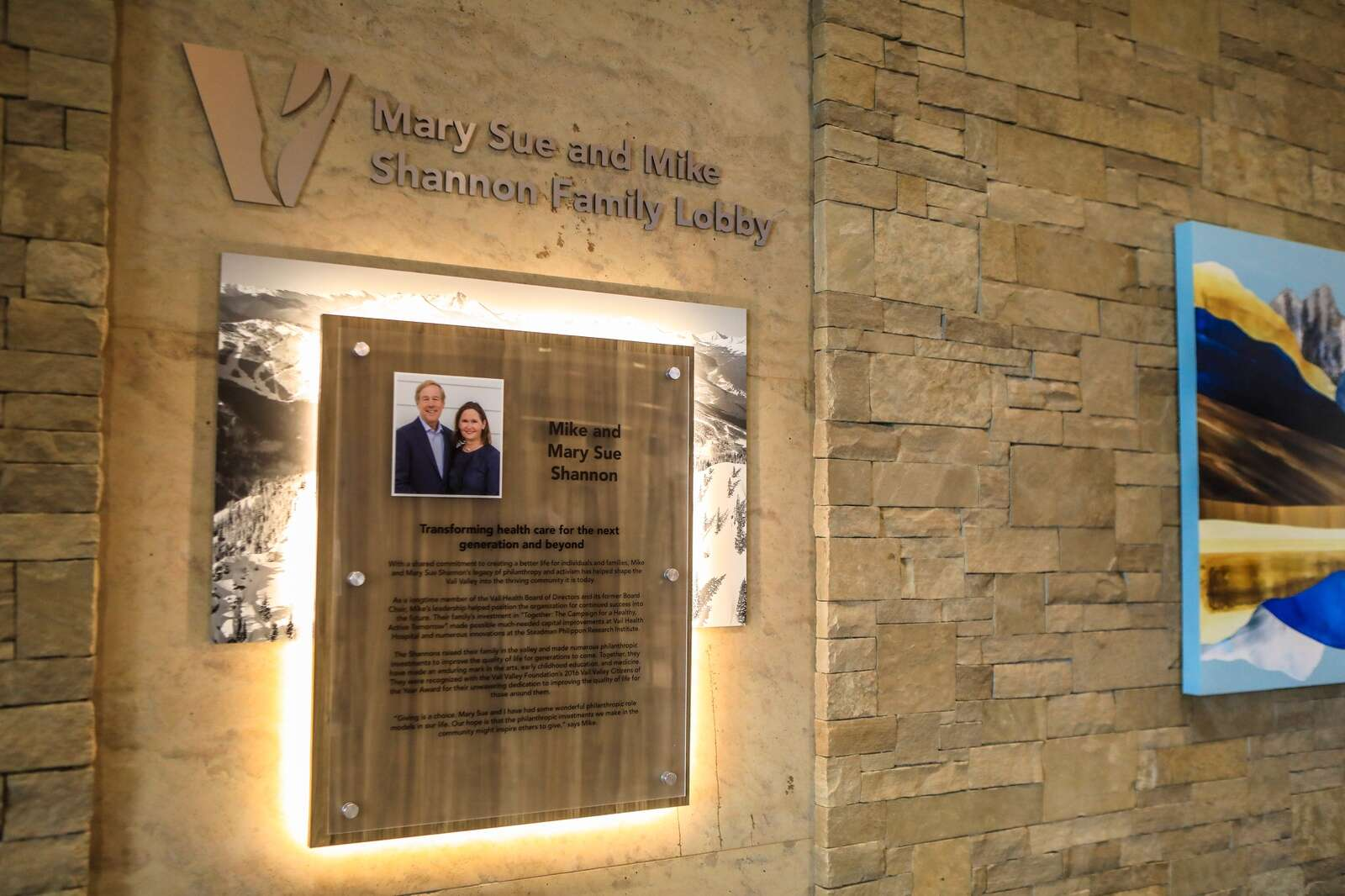 A plaque recognizes the new Mary Sue and Mike Shannon Lobby in the hospital's new wing. | Chris Dillmann/cdillmann@vaildaily.com
