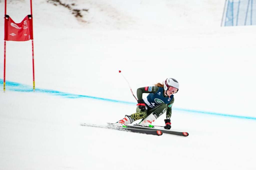 American alpine skier Mary Bocock competes in the Women's Super G National Championships at Aspen Highlands on Tuesday, April 13, 2021. (Kelsey Brunner/The Aspen Times)