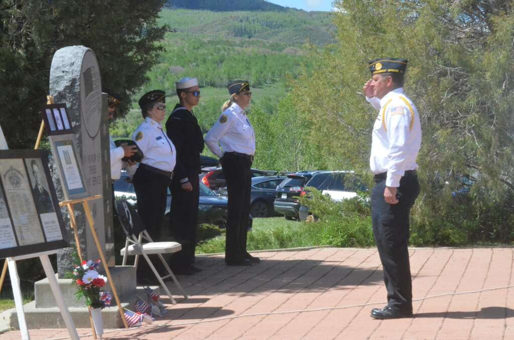 Members of the Steamboat Springs American Legion Post #44 and Veterans of Foreign Wars Post #4264 honored three Routt County veterans killed in action at a Memorial Day Ceremony on Monday. (Photo by Dylan Anderson)