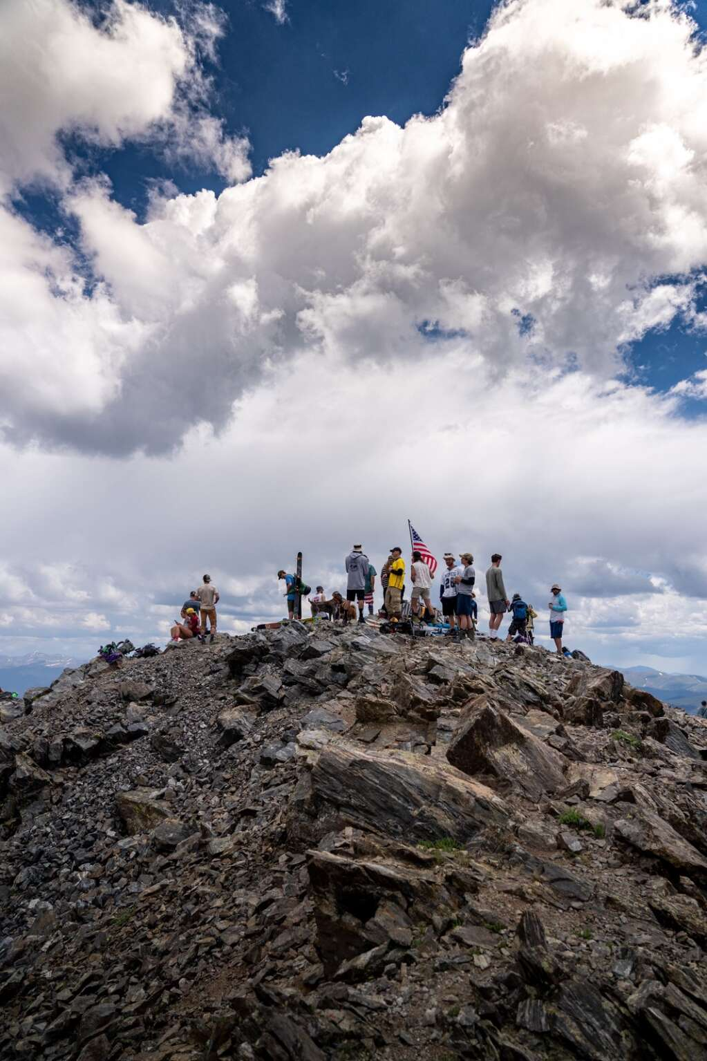 Skiers and riders celebrate Independence Day high up in the Tenmile Range at the summit of Peak 10 at Sunday's fourth annual Peak 10 Classic. | Photo by Sage Vogt