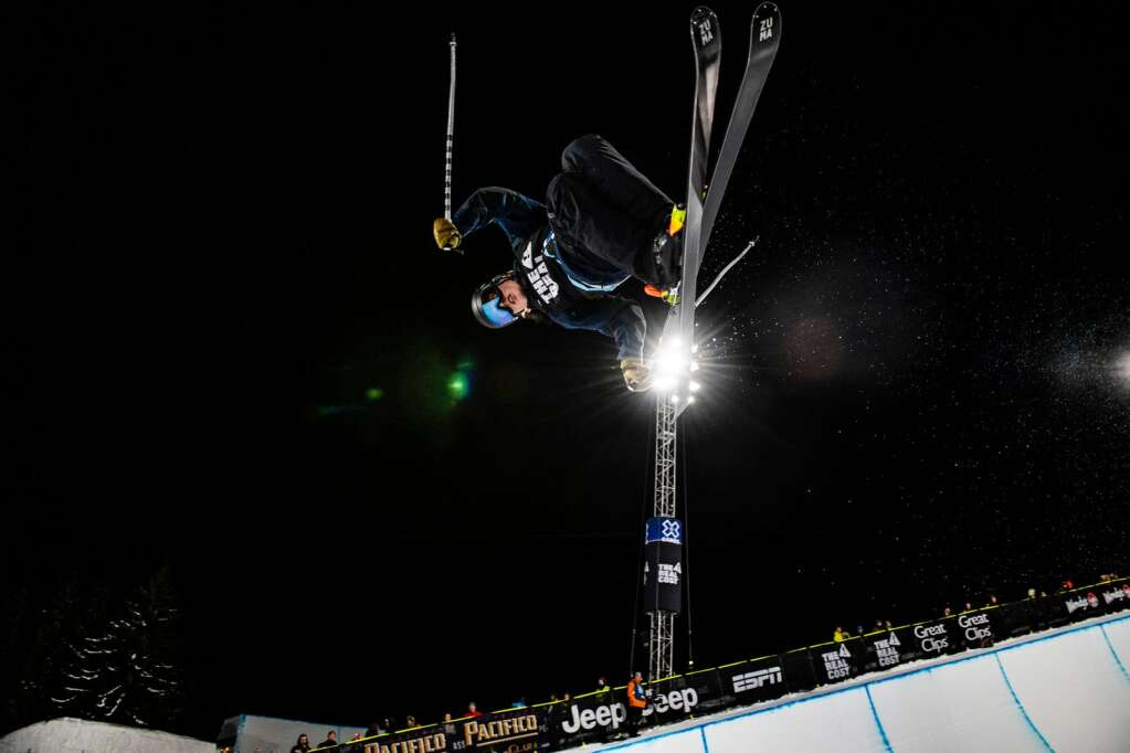 X Games rookie Brendan MacKay practices before the start of the men's ski superpipe finals on Sunday, Jan. 26, 2020. MacKay placed third in the event behind Aaron Blunck and Alex Ferreira. (Kelsey Brunner/The Aspen Times)