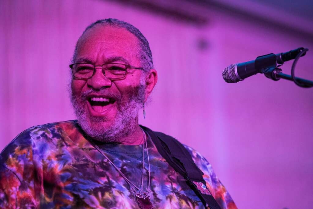 George Porter, Jr. plays alongside his bandmates in New Orleans Roadshow Revue during the Hotel Jerome show at the JAS June Experience in downtown Aspen on Friday, June 25, 2021. (Kelsey Brunner/The Aspen Times)