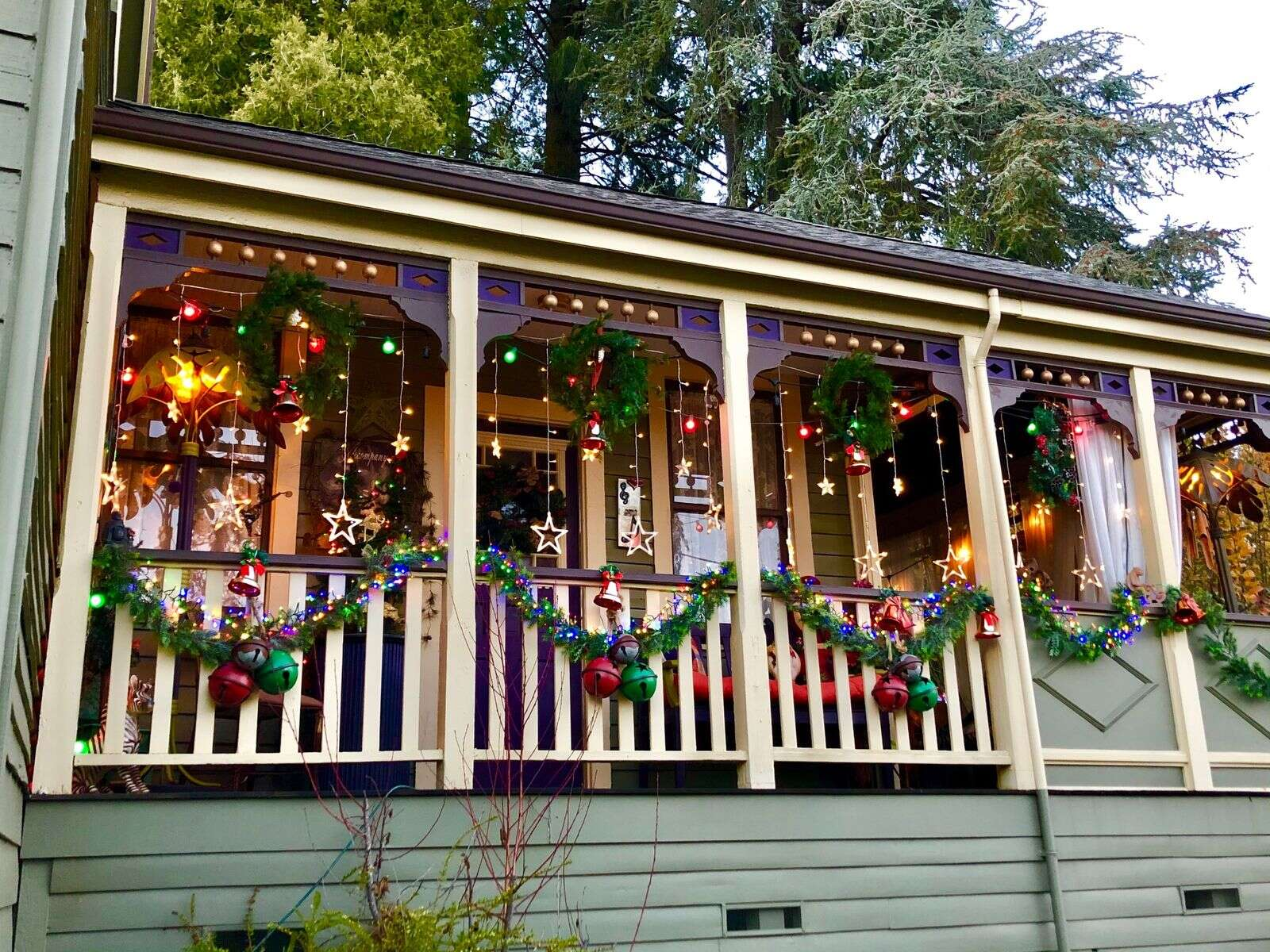 My wonderful porch with festive lighting! Ready for Christmas!   Submitted by Helen Boss