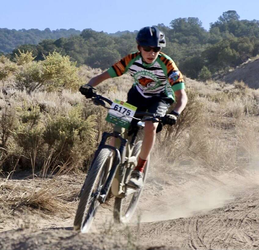 Summit Tiger Nico Bonta rides to 17th-place of 65 riders in the freshman boys race at the Haymaker Classic in Eagle on Saturday, Sept. 25. | Marcy Neerhof/Courtesy photo