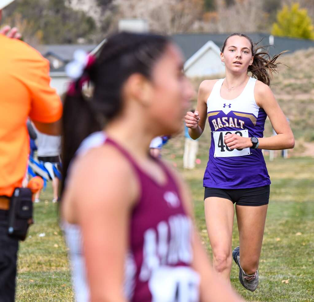 Basalt High School's Katelyn Maley finishes second place at Friday's Colorado 3A Region 1 XC meet at VIX Park in New Castle.  Chelsea Self/Post Independent