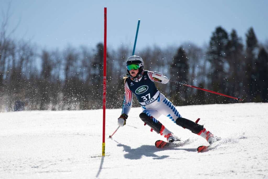 American alpine skier Erica Lynch competes in the Women's Alpine Combined FIS event at Aspen Highlands on Wednesday, April 14, 2021. (Kelsey Brunner/The Aspen Times)