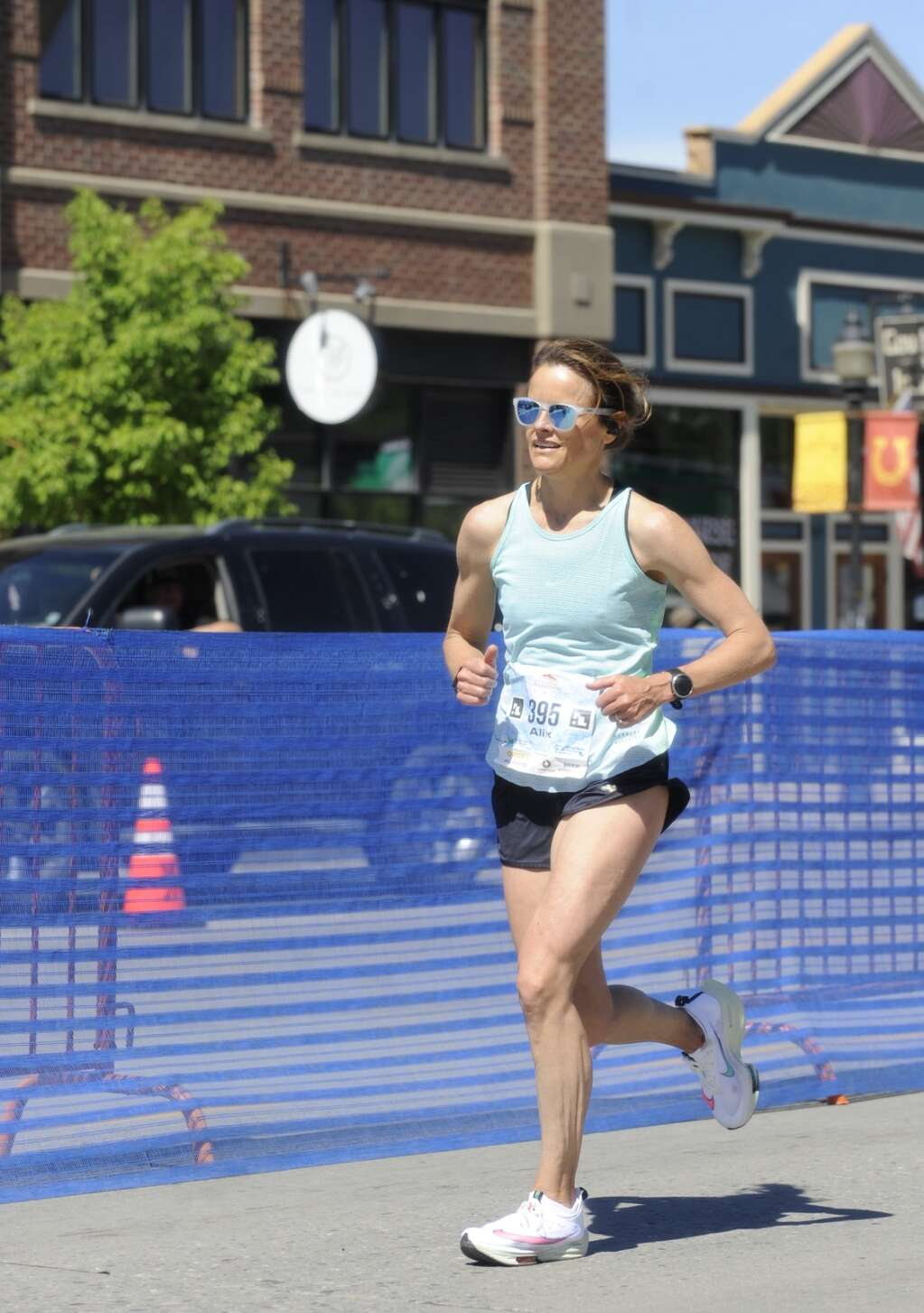 Alix Van Sickle approaches the finish line of the Steamboat Marathon on Sunday morning. (Shelby Reardon)