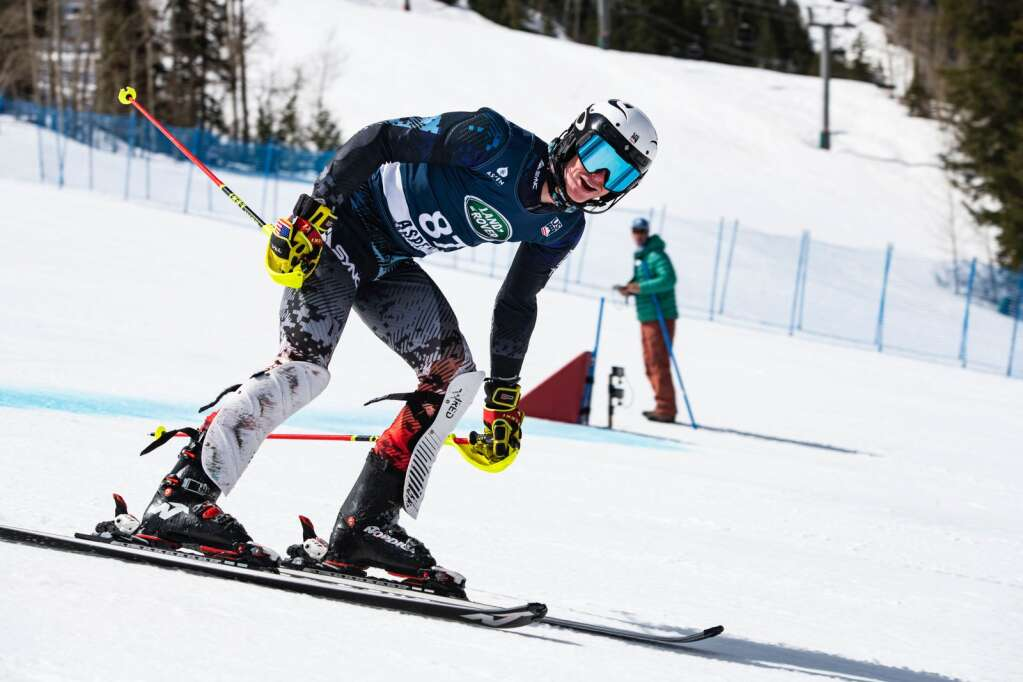 American alpine skier Camden Palmquist looks at the scoreboard as he crosses the finish line during his second run of the U.S. Alpine Championships on Wednesday, April 7, 2021. (Kelsey Brunner/The Aspen Times)